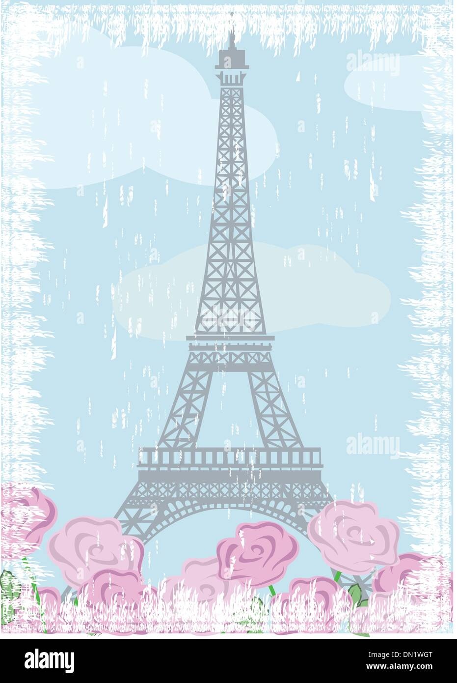 Grunge Eiffel tower with roses - Stock Vector