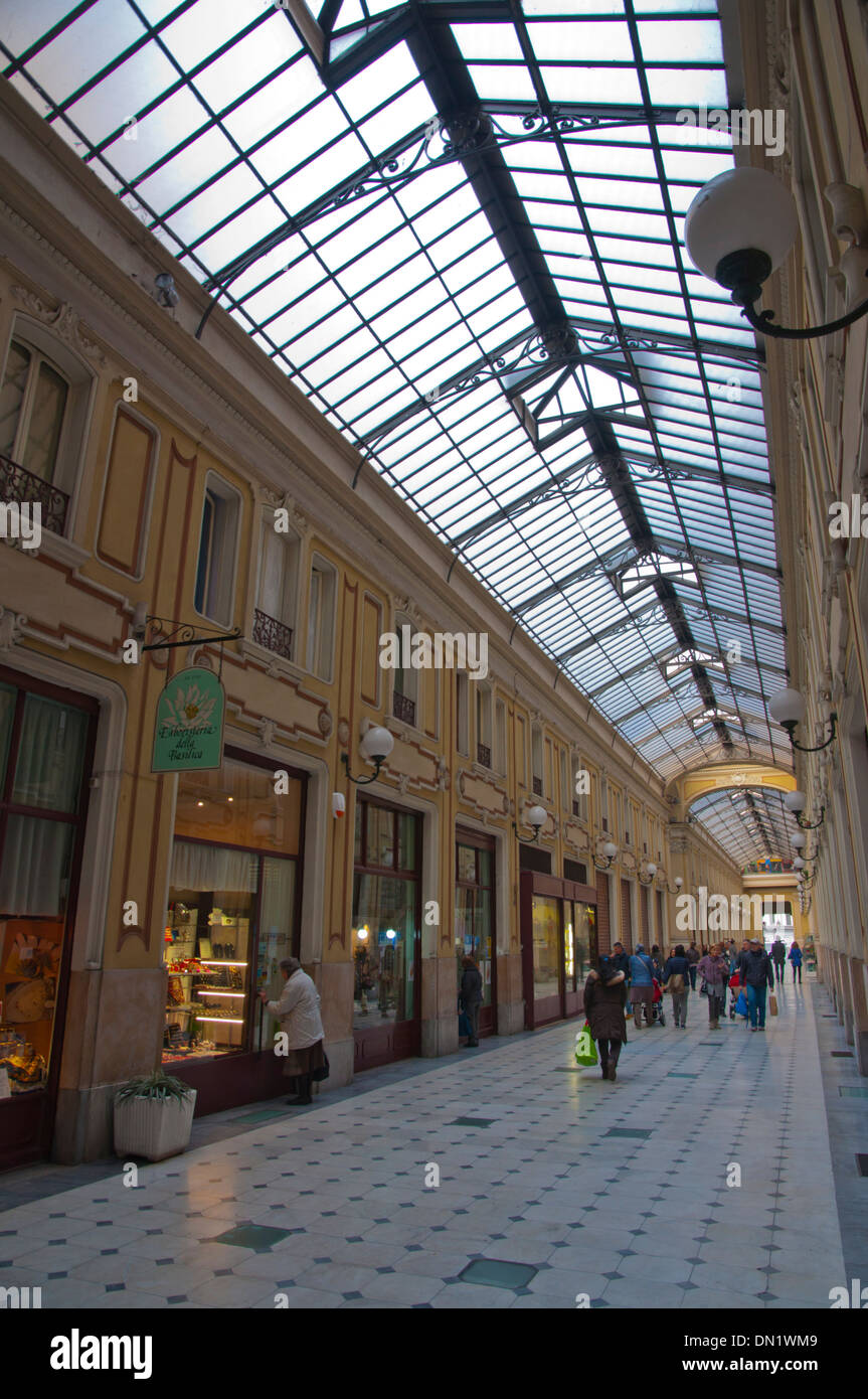 Galleria Umberto I shopping arcade covered passage Quadrilatero Romano district central Turin Piedmont region Italy Europe - Stock Image