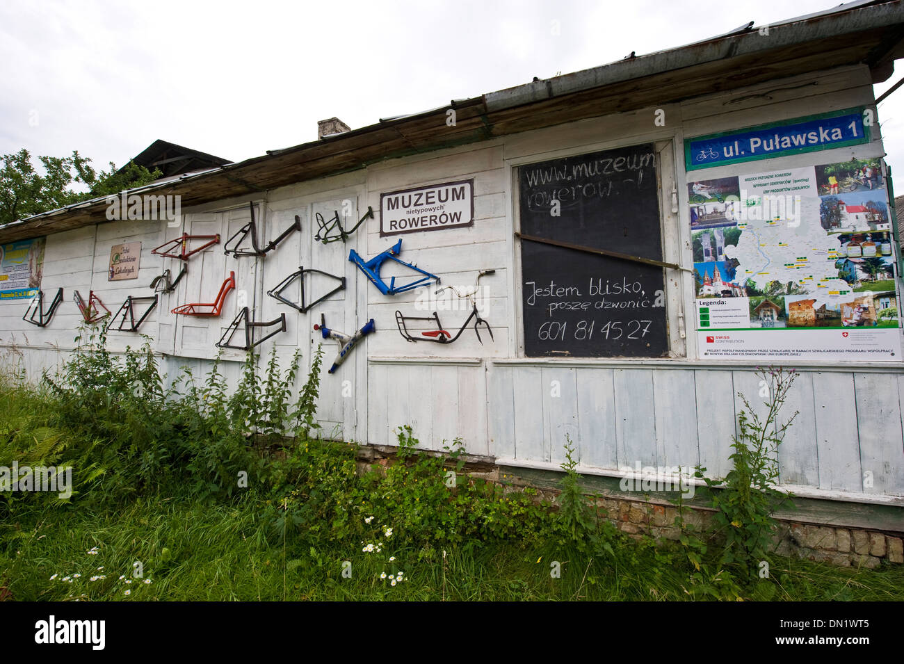 A small collection and museum of odd bicycles in Gołąb, a village in central Poland, - Stock Image