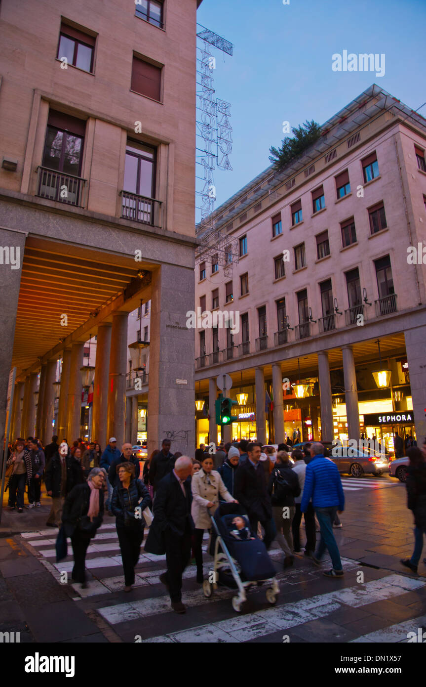 Via Roma main street Turin city Piedmont region northern Italy Europe - Stock Image