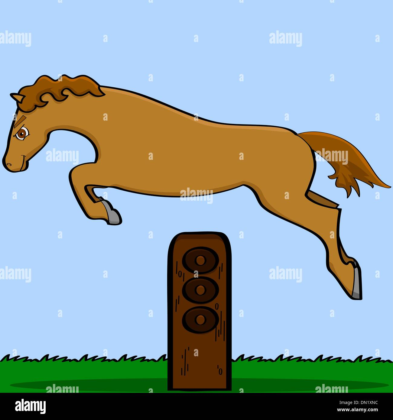 Cartoon horse jumping over an obstacle - Stock Vector