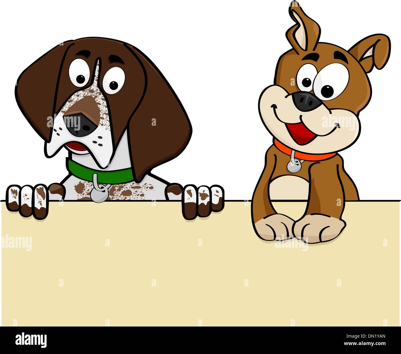 Dogs looking over wall Stock Vector Art & Illustration, Vector Image ...