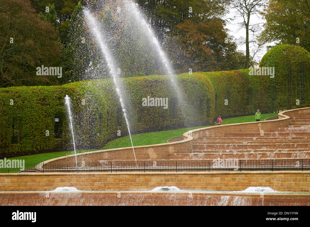 Water fountains at Alnwick Garden, Northumberland, England, UK Stock ...