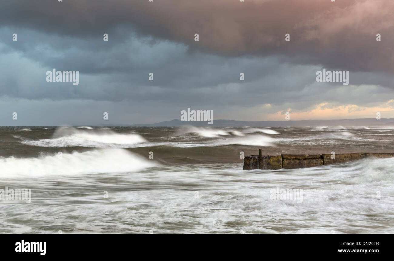 Lossiemouth with an extreme high tide storm. - Stock Image