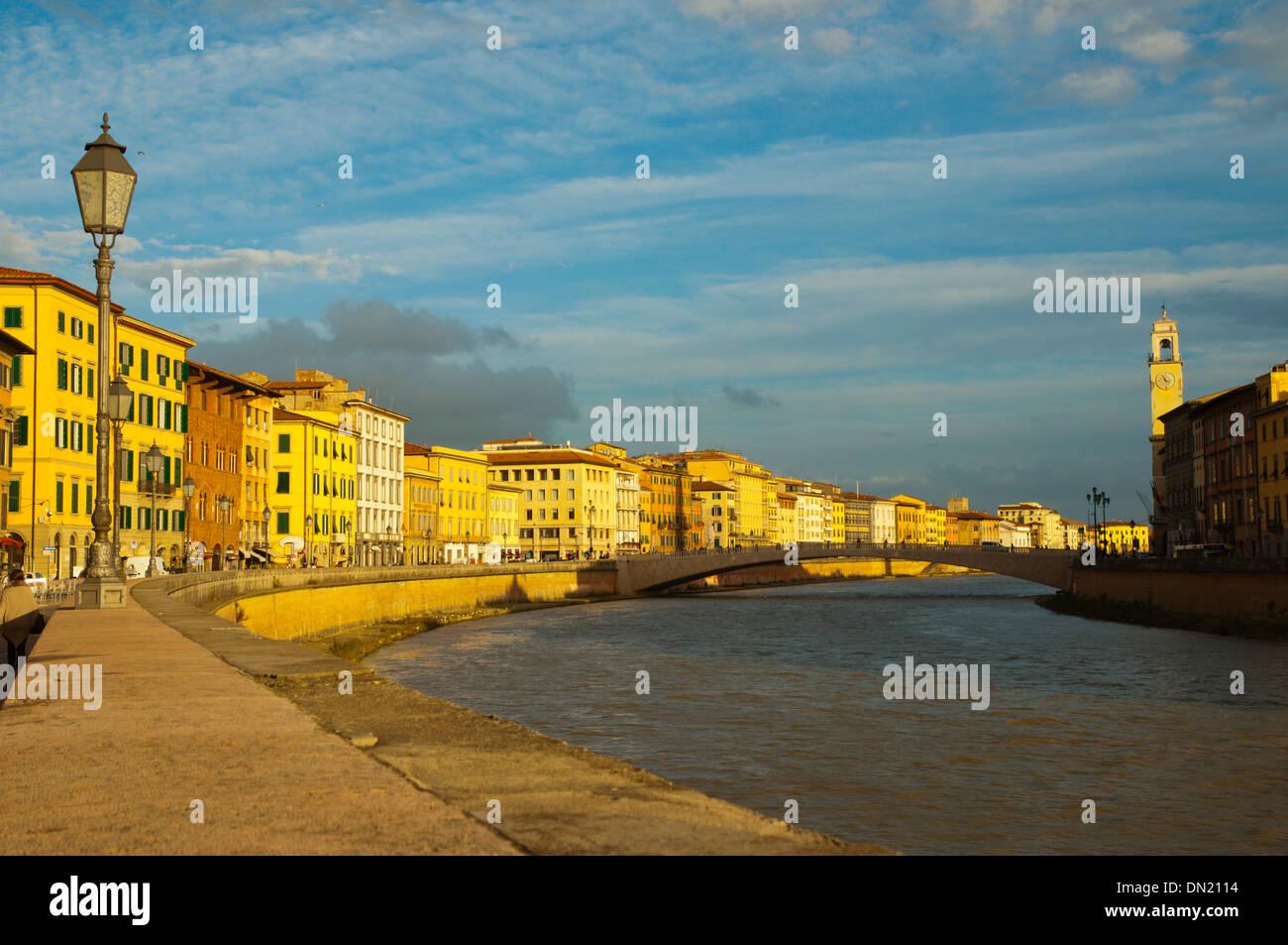 Lungarno Antonio Pacinotti riverside street central Pisa city Tuscany region Italy Europe Stock Photo
