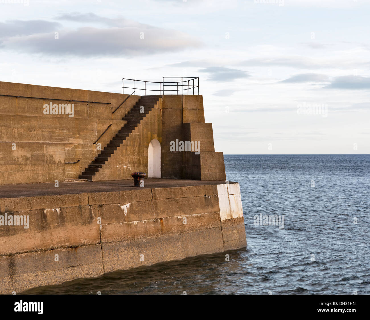 Lossiemouth harbour, the end of the pier. - Stock Image