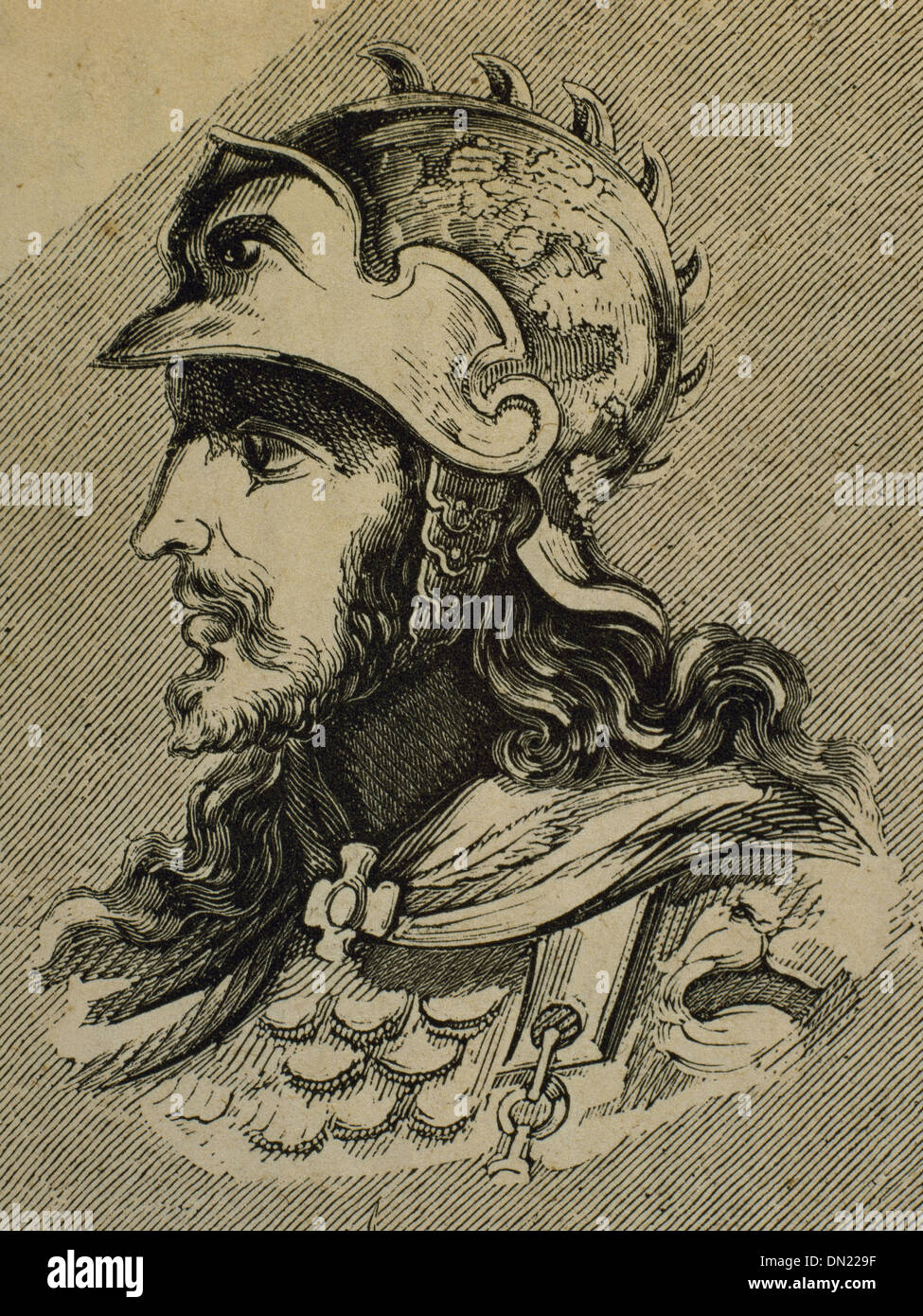 Ataulf. Germanic king of the Visigoths from 410-415. Engraving. - Stock Image