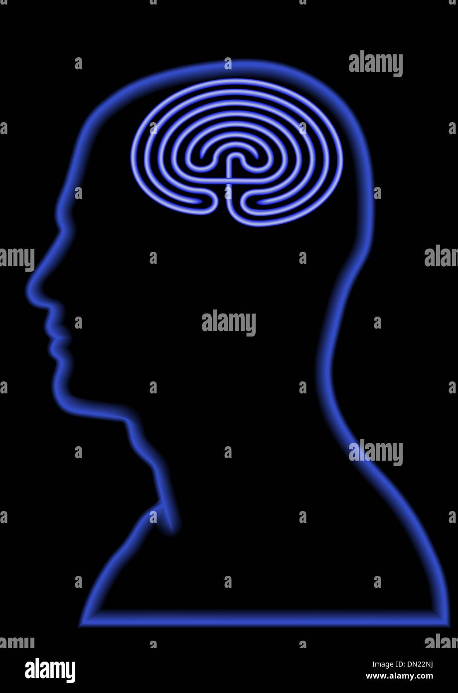 confused - maze in head - confused brain - Stock Image