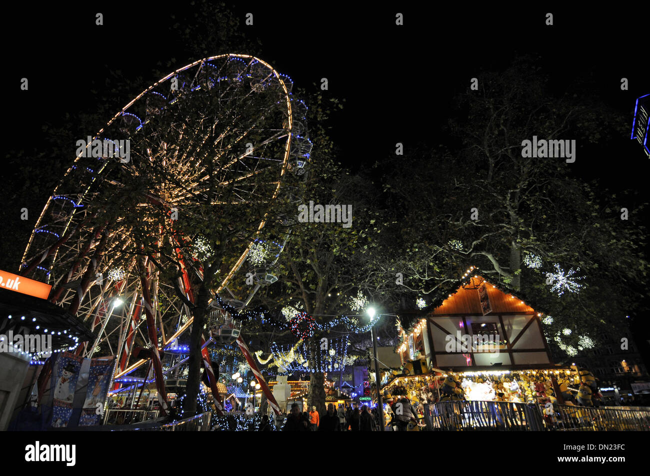 Christmas funfair Leicester Square London England - Stock Image