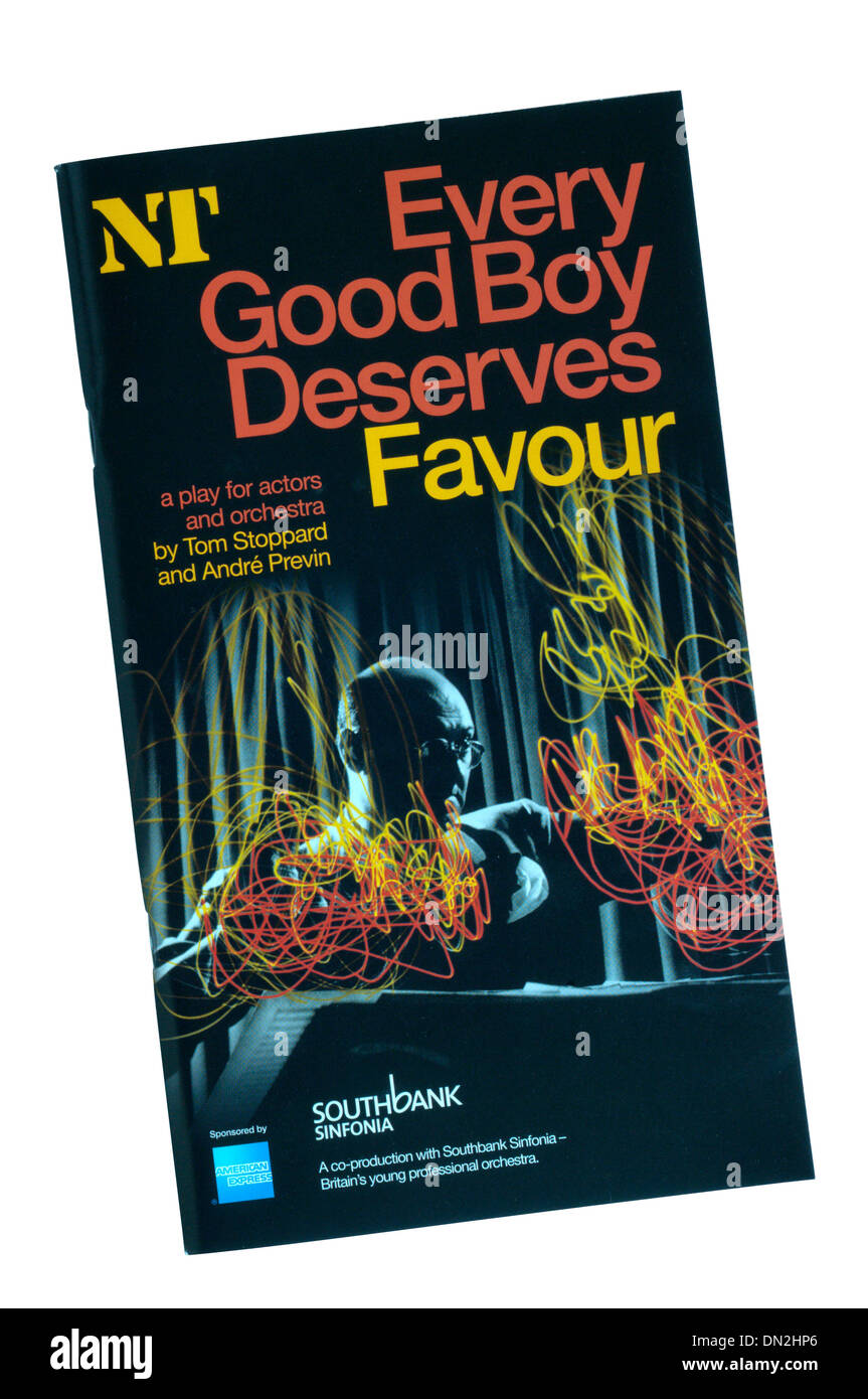 Programme for the 2009 production of Every Good Boy Deserves Favour by Tom Stoppard and Andre Previn at the Olivier Theatre. - Stock Image