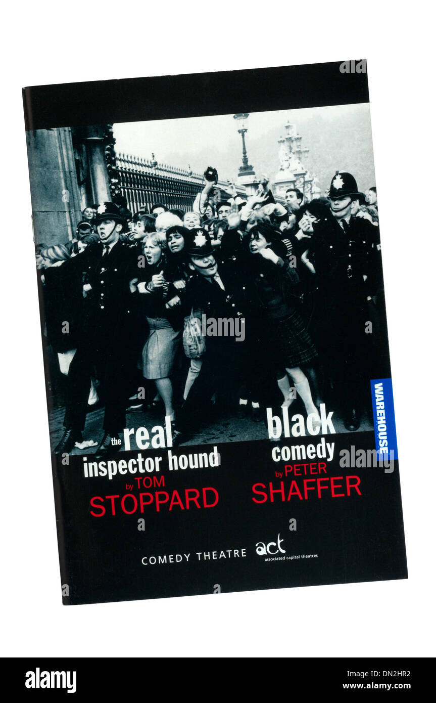 Programme for 1998 double bill of The Real Inspector Hound by Tom Stoppard and Black Comedy by Peter Shaffer at Comedy Theatre. - Stock Image