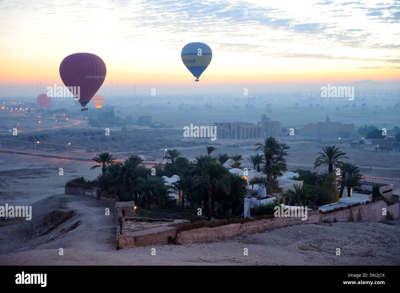 Aerial view of German Archaeological Institute from balloon ascent over west bank of Luxor, Upper Egypt - Stock Image