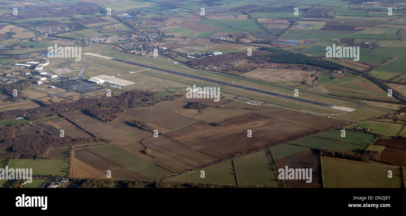 aerial view of Doncaster Sheffield Airport, formerly RAF Finningley - Stock Image