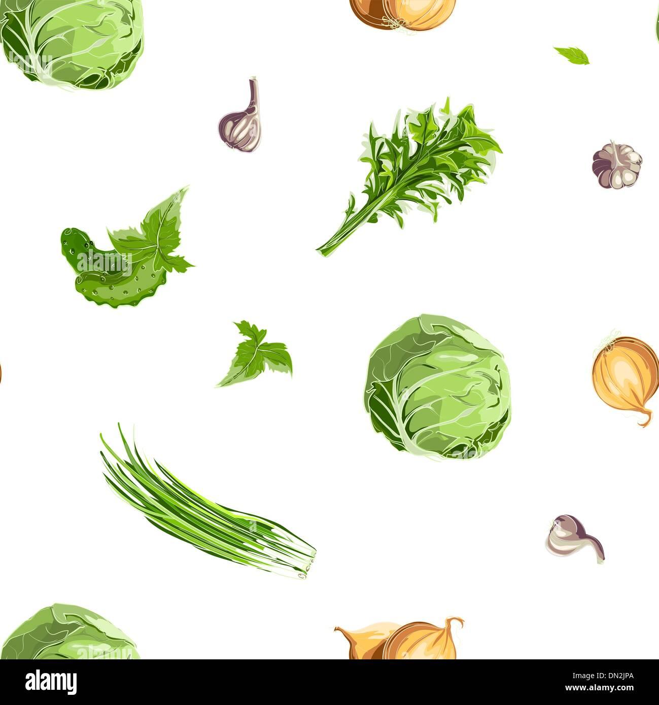 Fresh Vegetables Seamless Pattern - Stock Vector