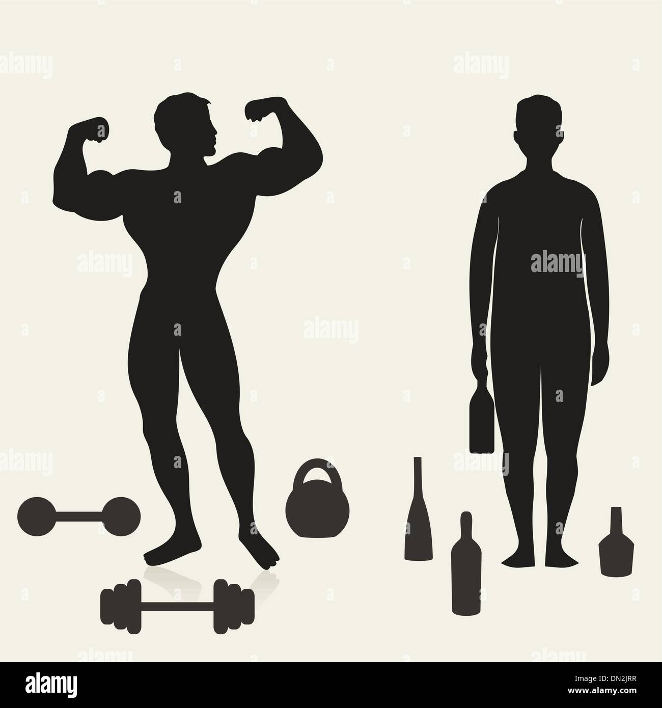 Sportsman and alcoholic Stock Vector