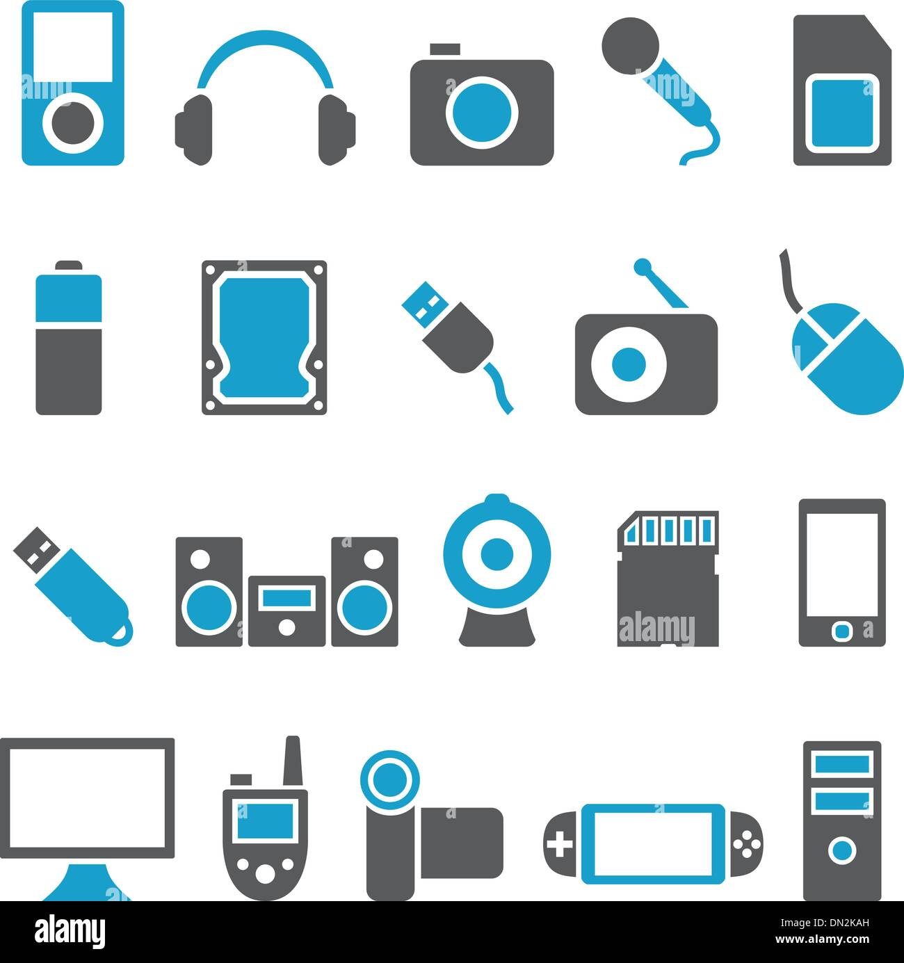 Set vector icons electronics and gadgets - Stock Image