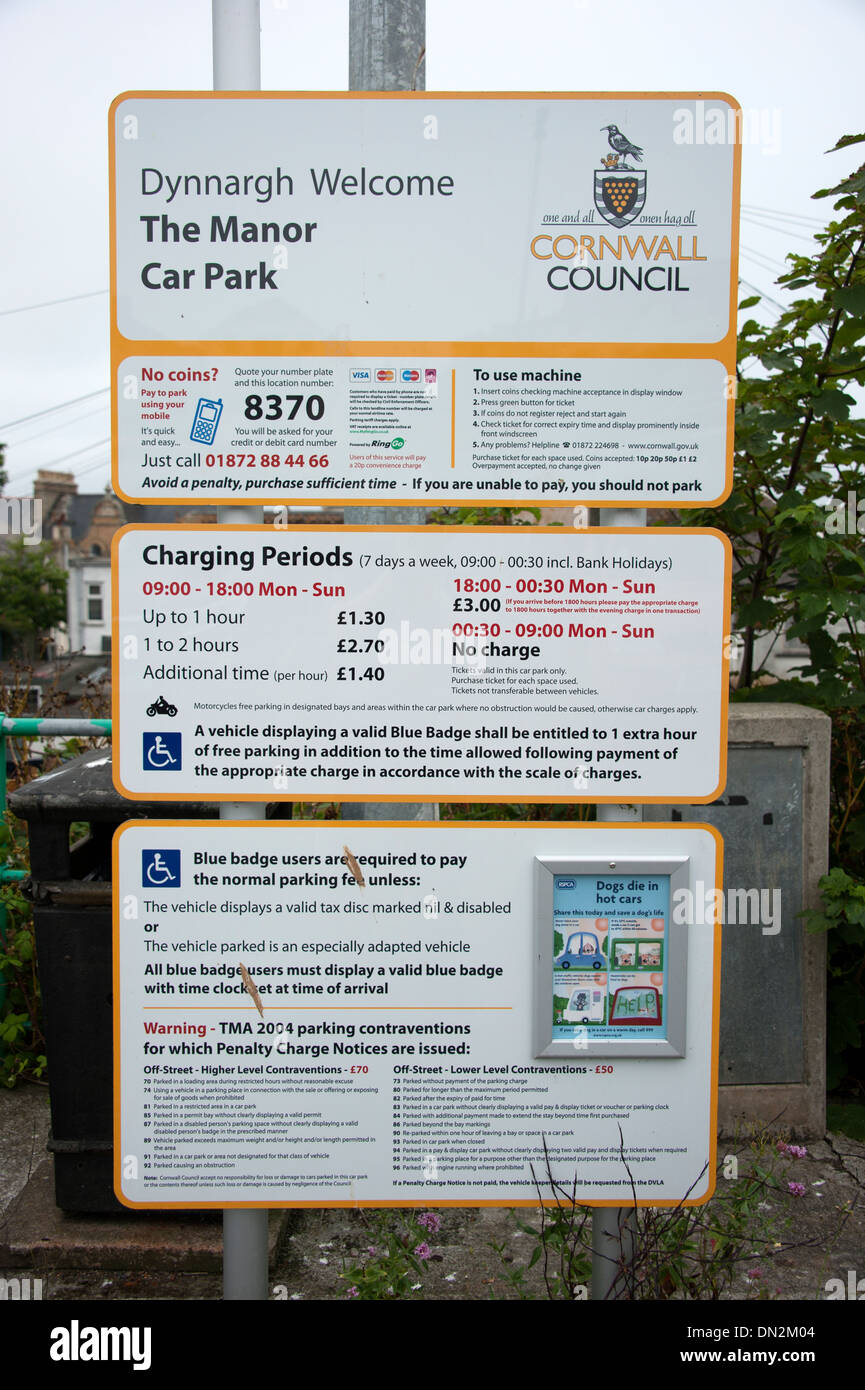 Car Parking Notice Charges Newquay Cornwall - Stock Image