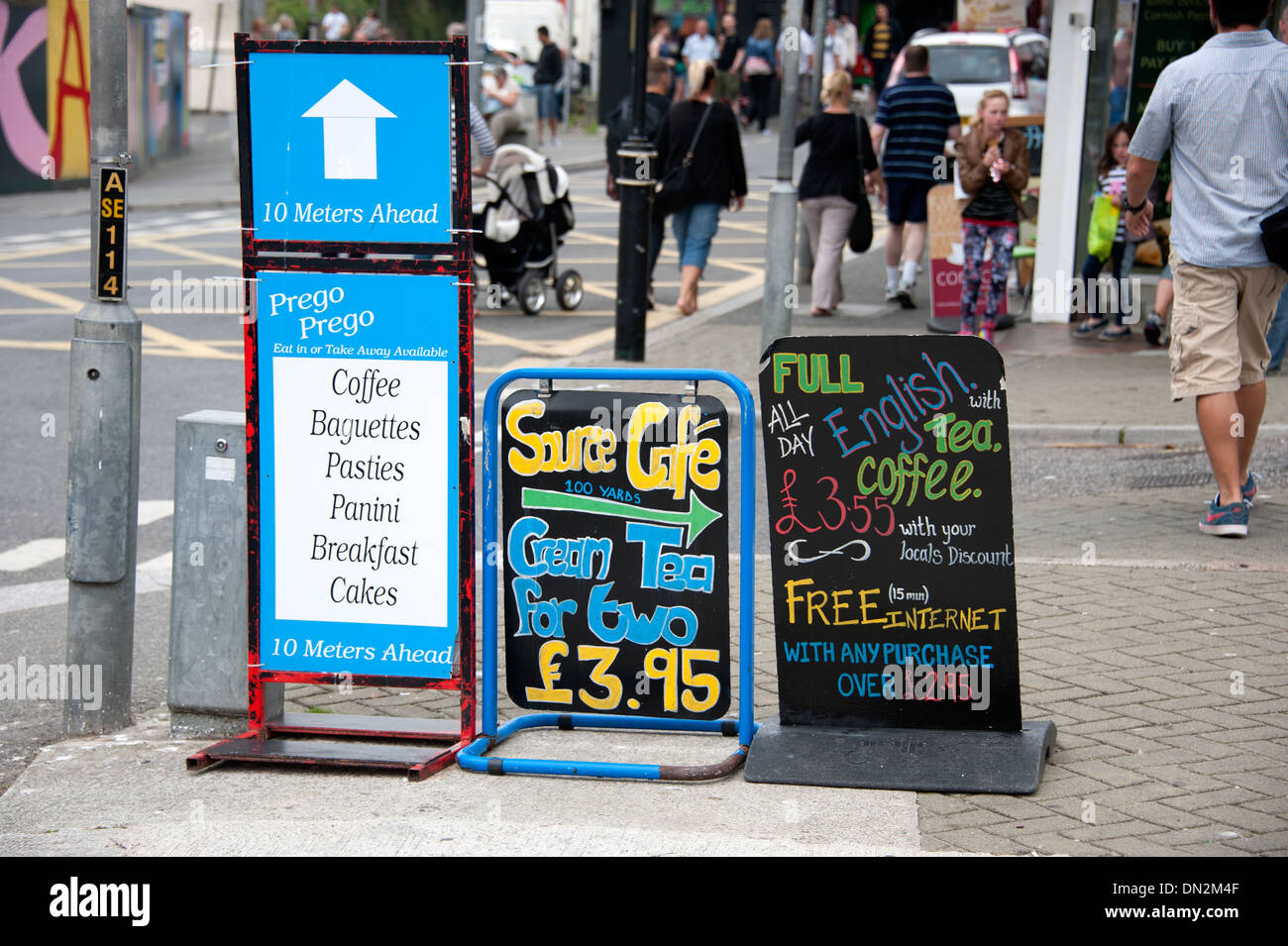 Cafe Coffee Signs sign tourist s food lunch - Stock Image