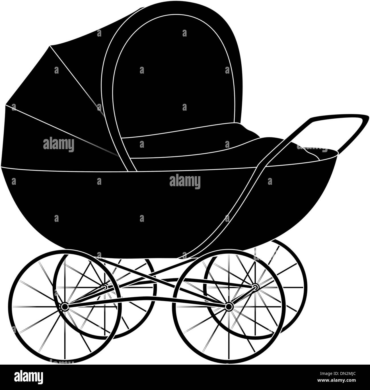 Baby pram, black silhouette - Stock Vector
