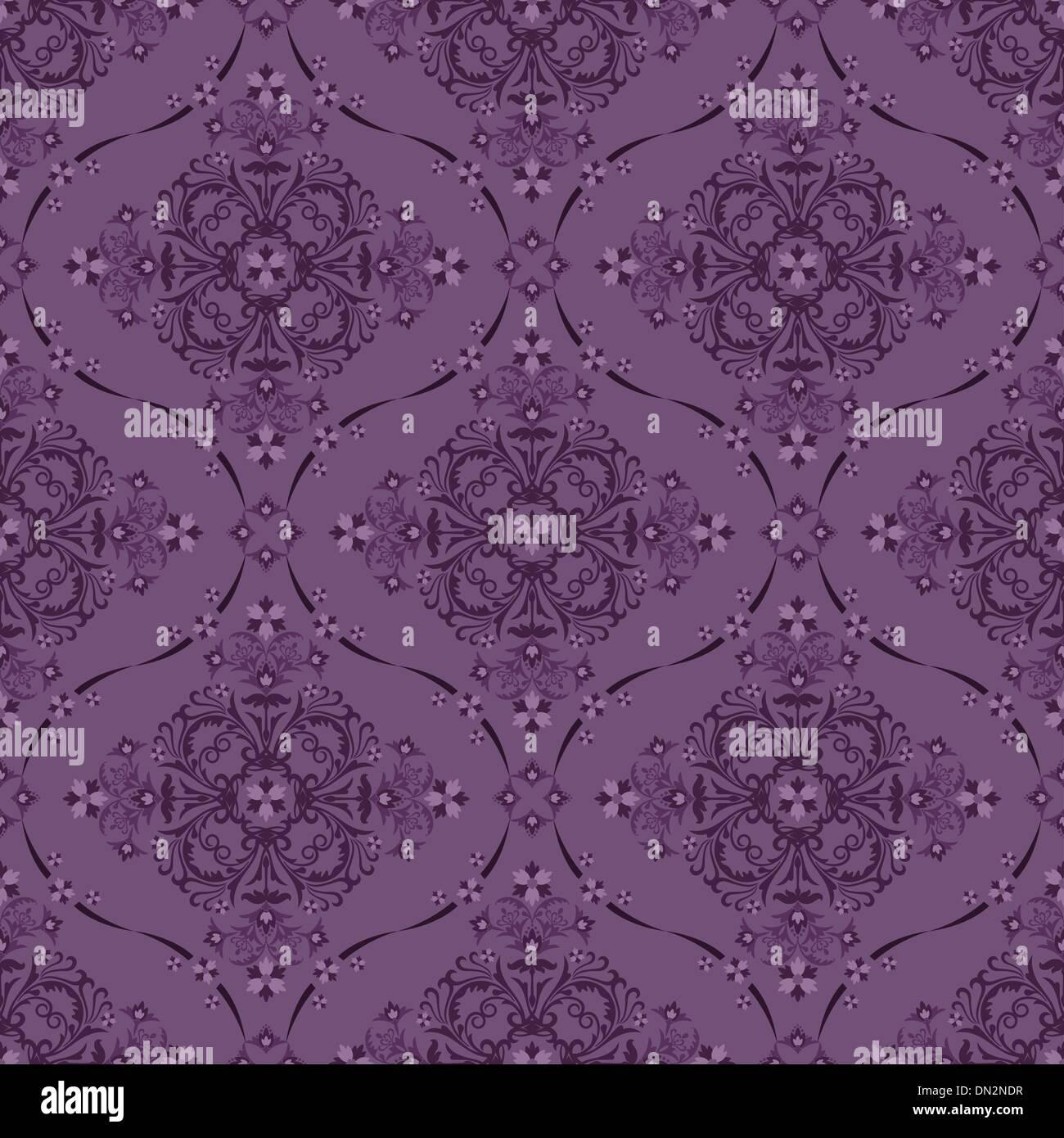 Seamless Luxury Purple Floral Wallpaper Pattern
