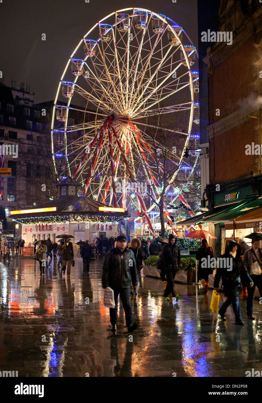 Christmas funfair in Leicester Square, London - Stock Image