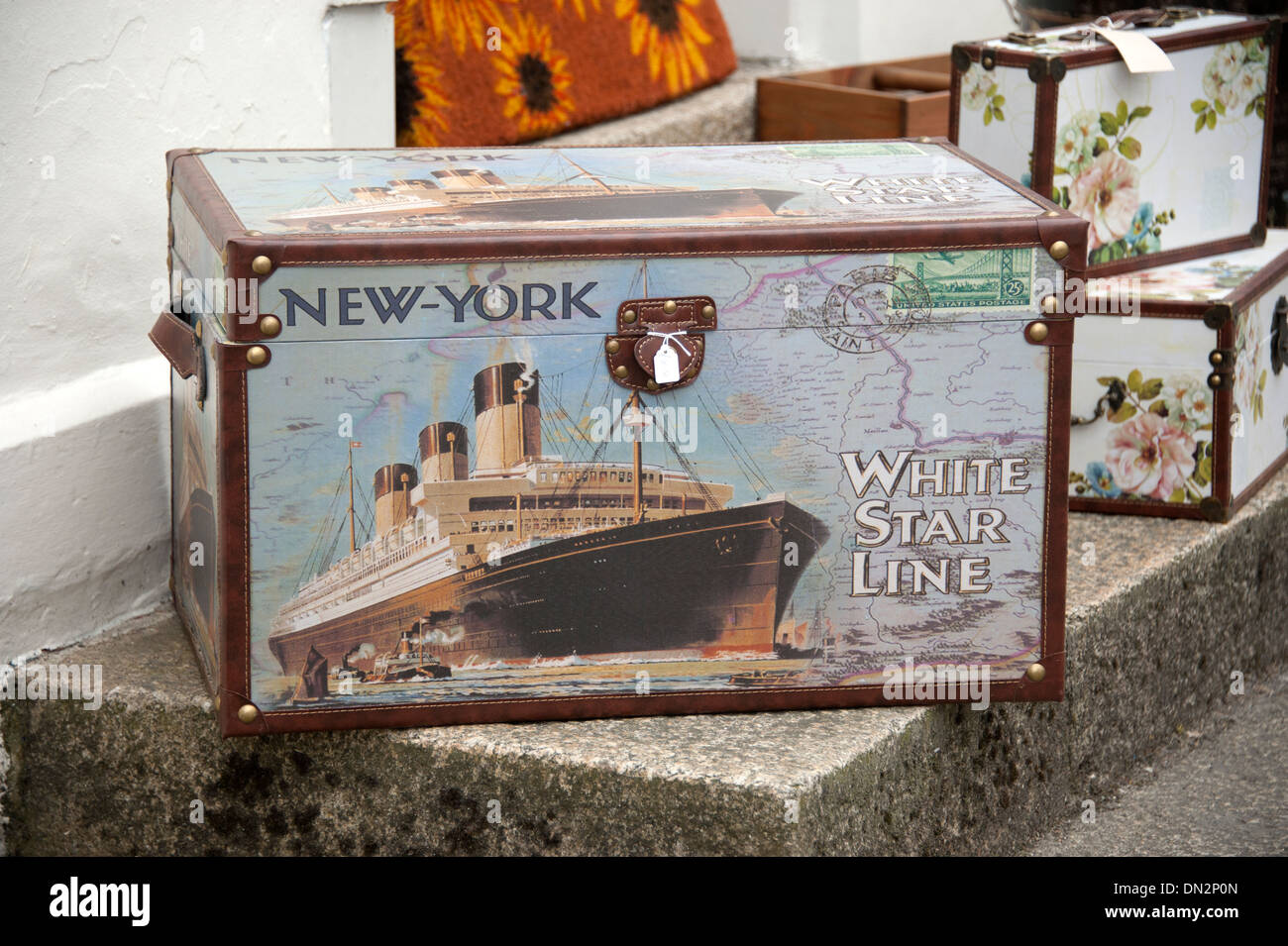 White Star Line New York Luggage Trunk Ship - Stock Image