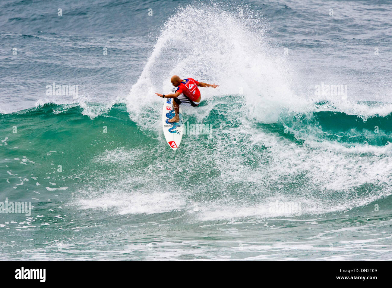 "Mar 02, 2006; Snapper Rocks, Queensland, AUSTRALIA; JAKE ""The Snake"" PATERSON, seen here surfing with his distinctive Stock Photo"