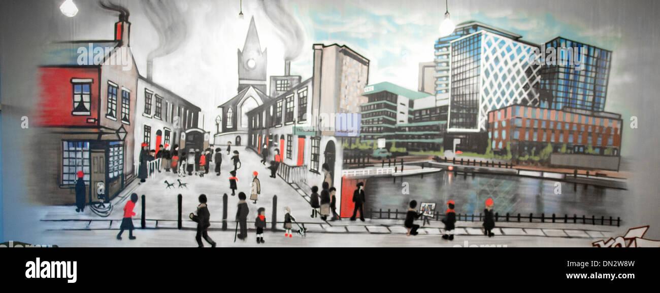 Manchester, UK. 16th December 2013. Hulme artist Tony Brady (Kelzo) now living in Salford has used spray paint to Stock Photo