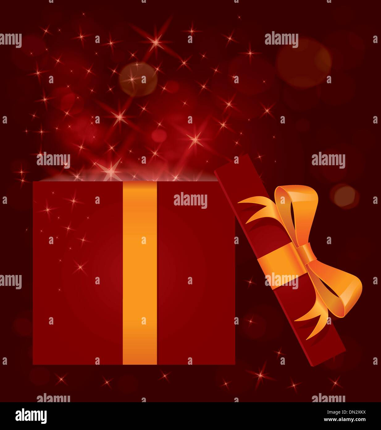 Magic light gift box open vector - Stock Image