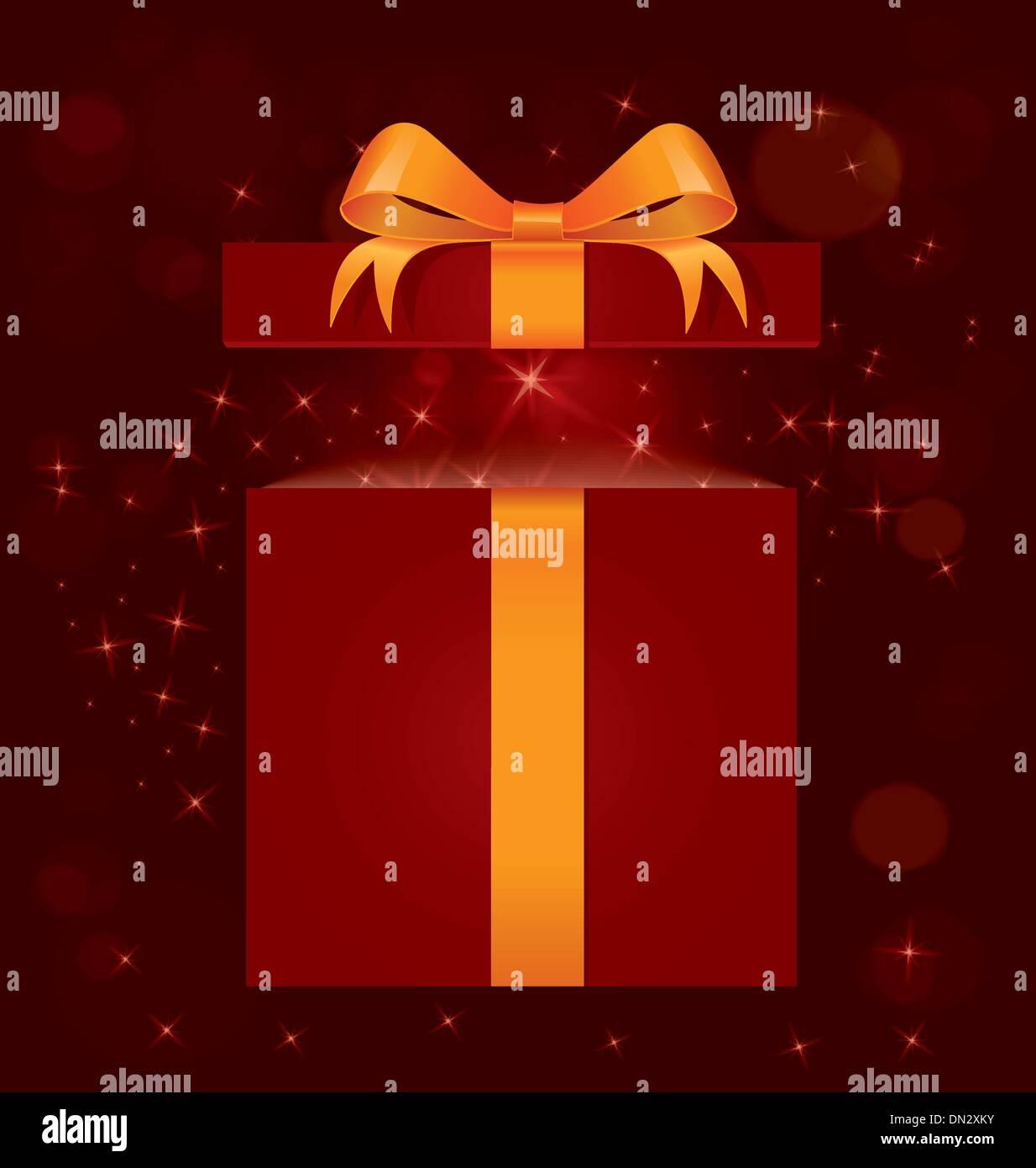 Magic light gift box vector - Stock Image
