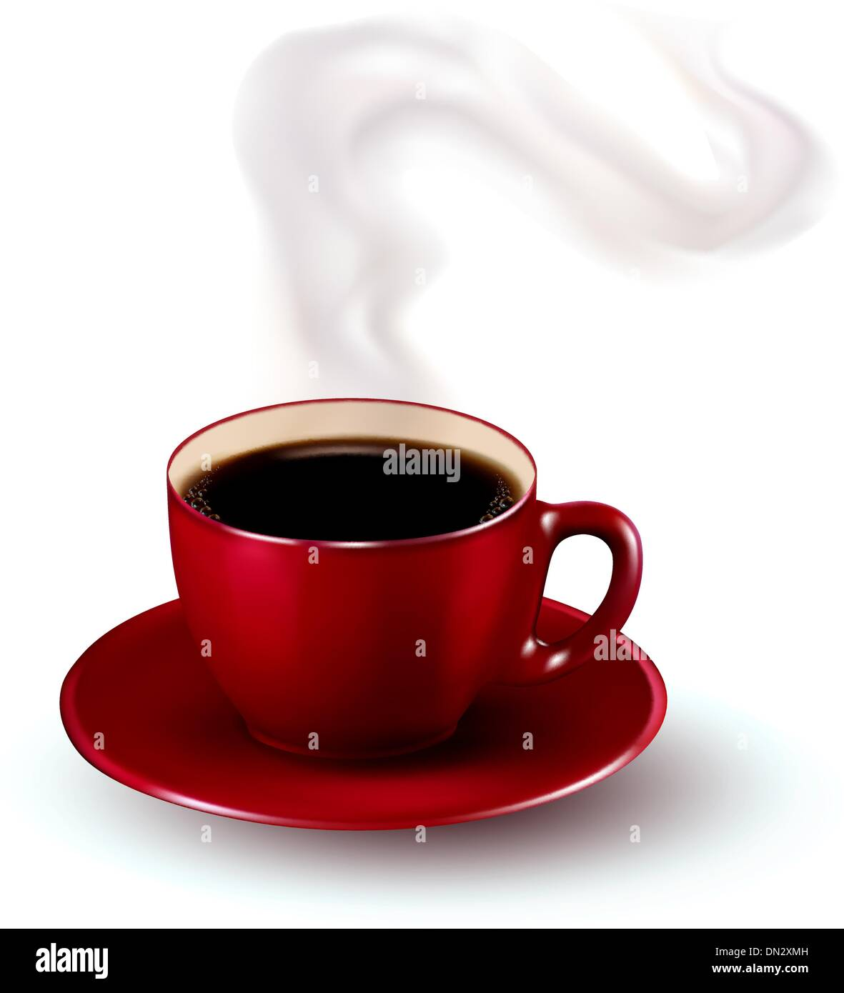 Perfect red cup of coffee with steam. Vector illustration. - Stock Image