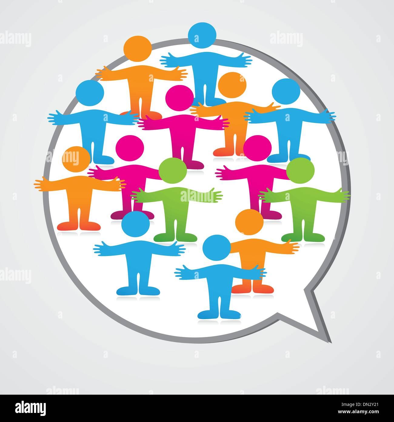 Social-media-people-inner-circle-Speech-Bubble - Stock Image
