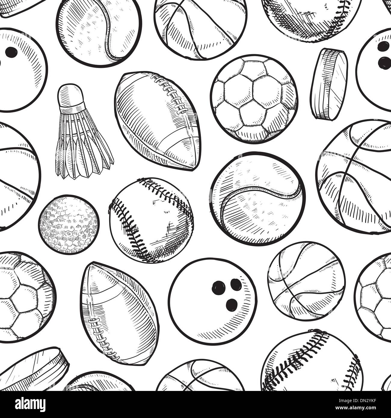 Seamless sports equipment background - Stock Image