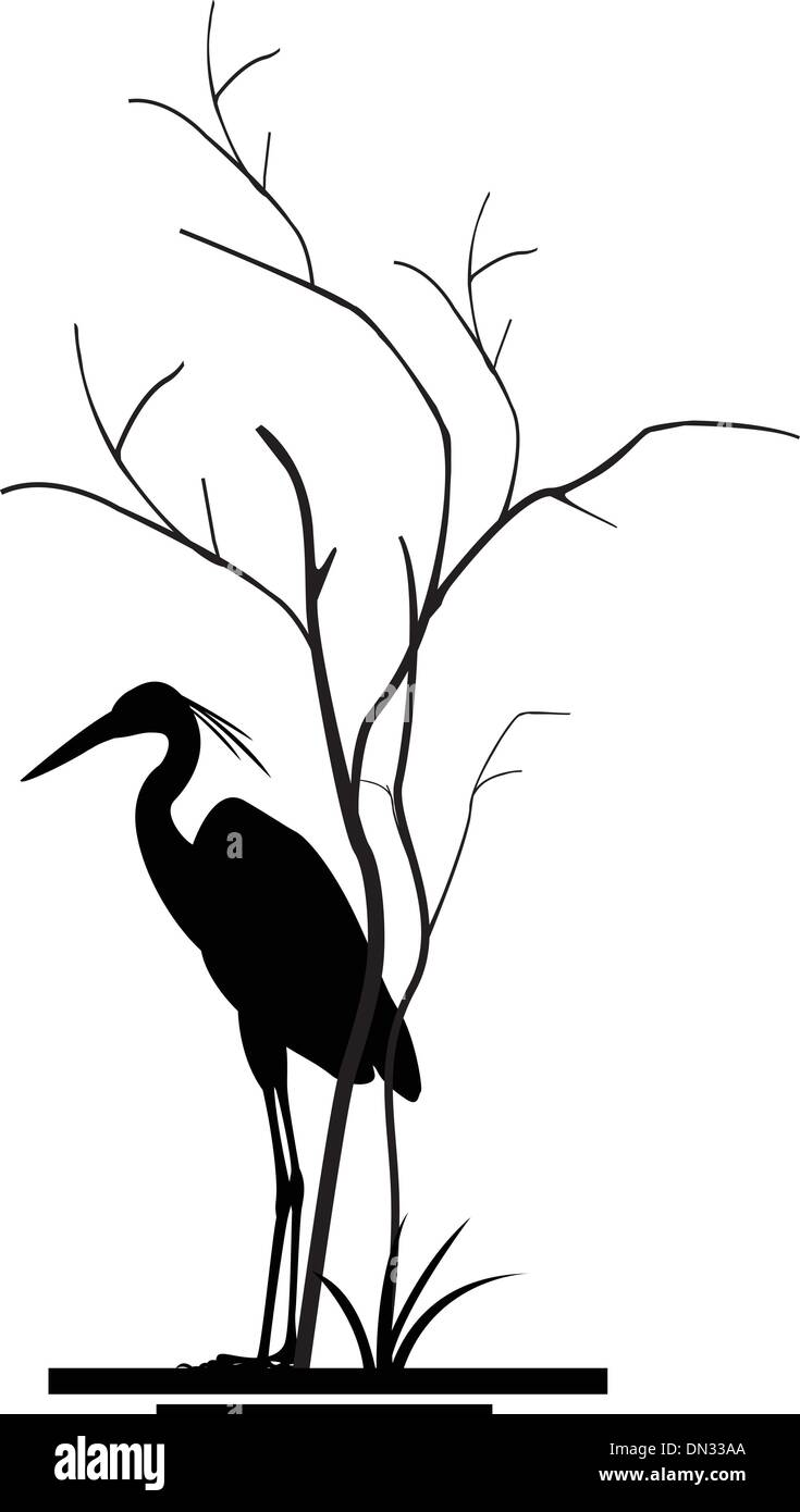 heron and tree silhouette - Stock Vector