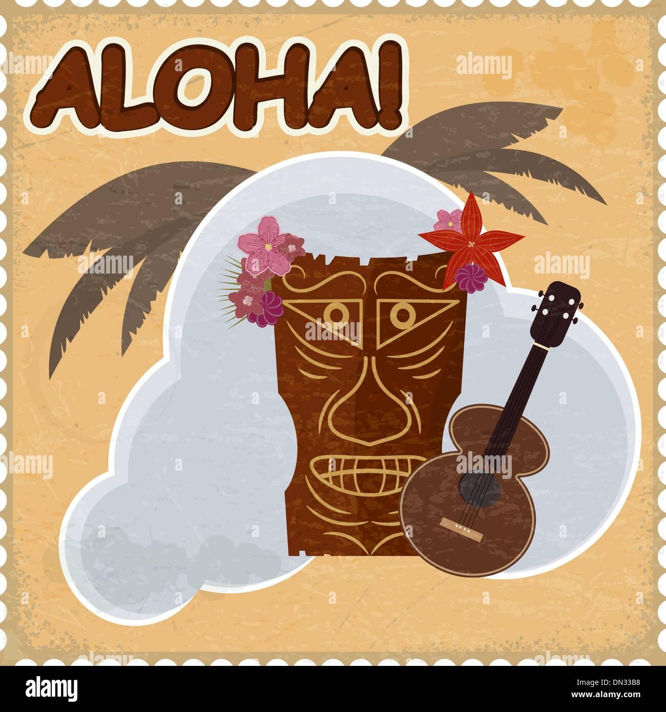 Vintage postcard with Hawaiian elements. eps10 - Stock Vector