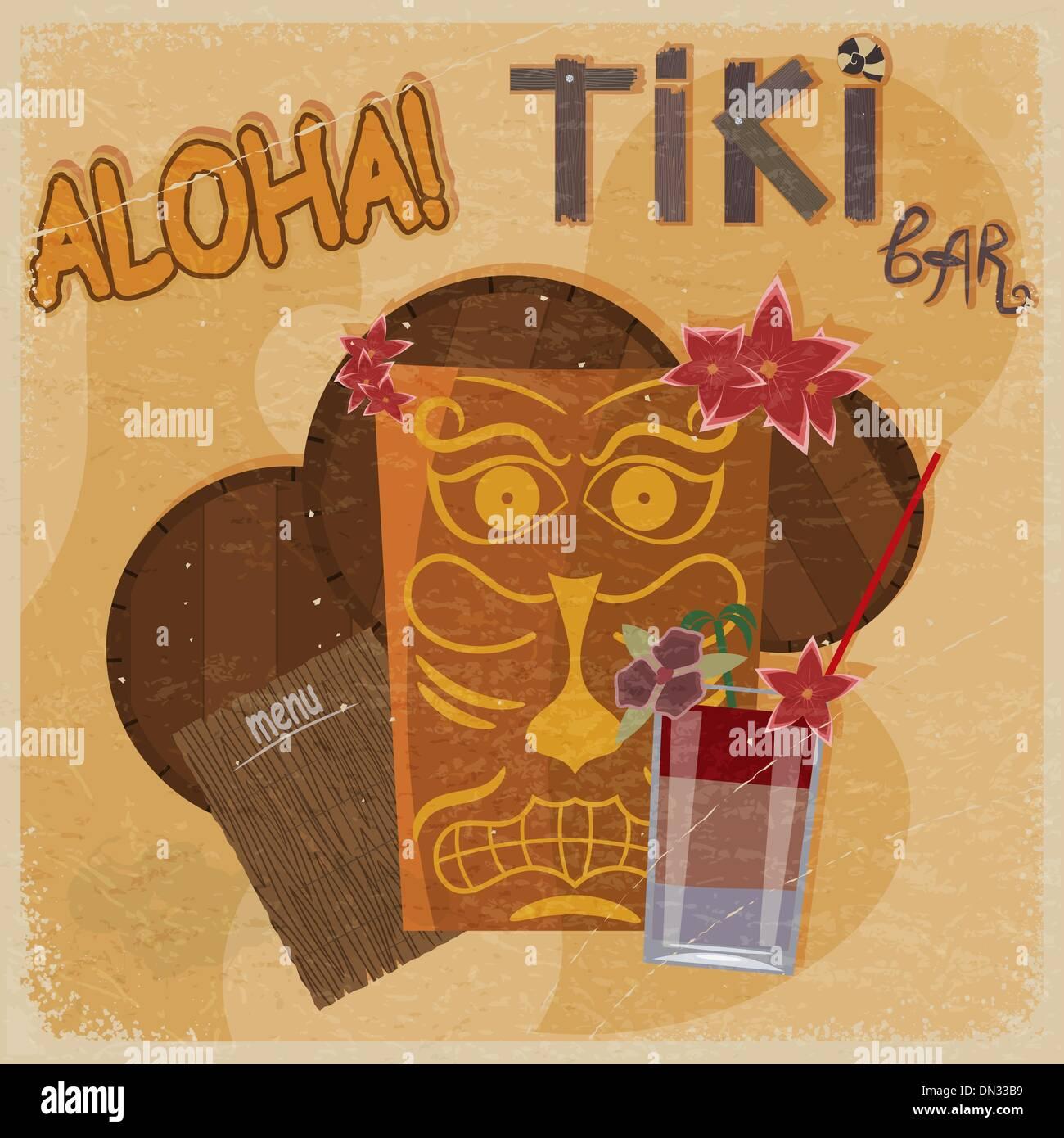 Vintage postcard - for tiki bar sign - featuring Hawaiian masks, - Stock Vector