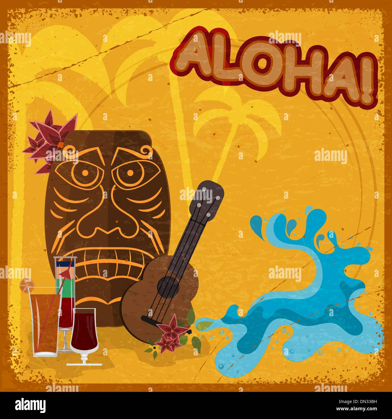Vintage postcard with  featuring Hawaiian masks, guitars and coc - Stock Vector
