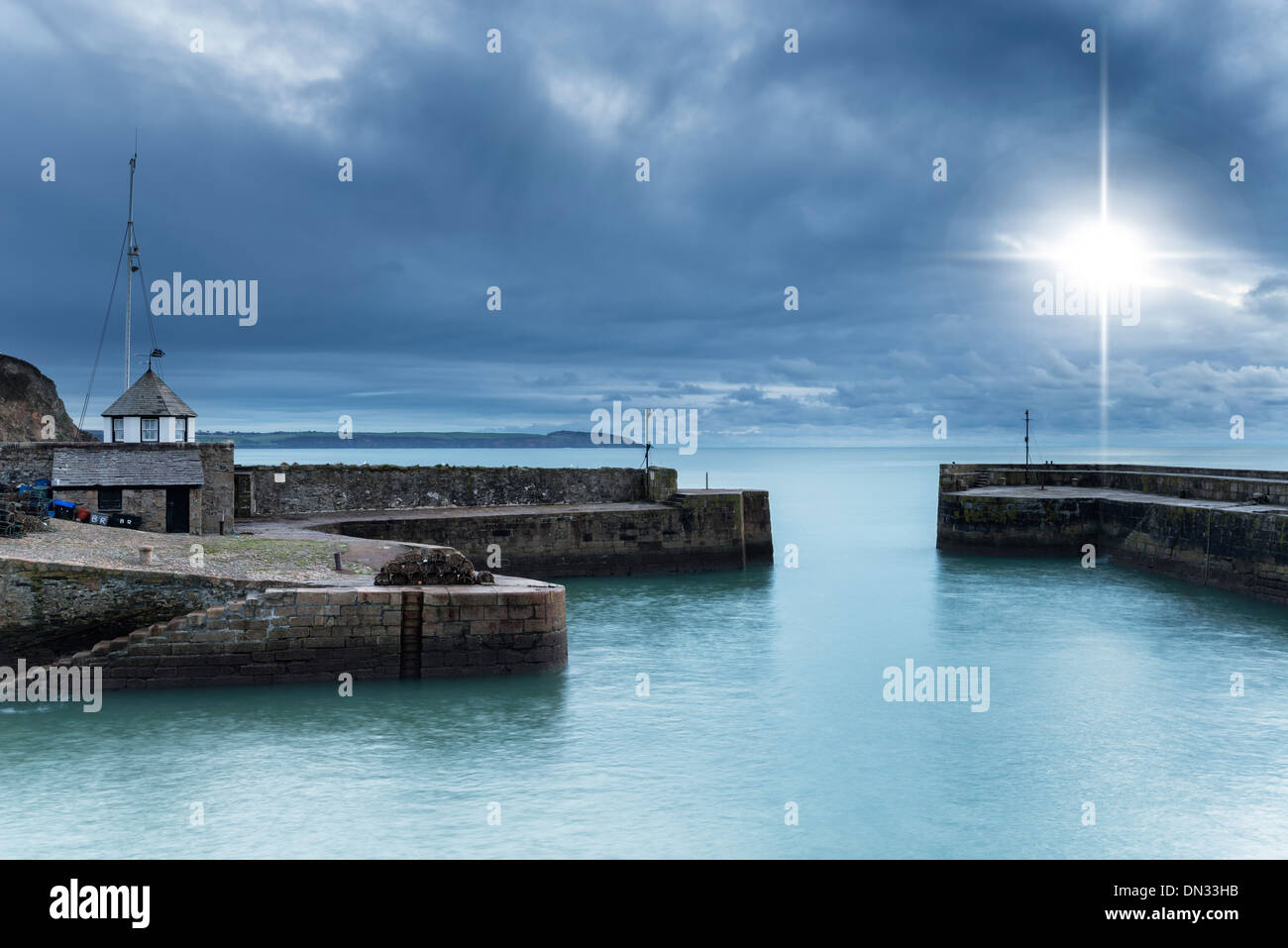 Night time at Charlestown Habour an historic port in Cornwall - Stock Image