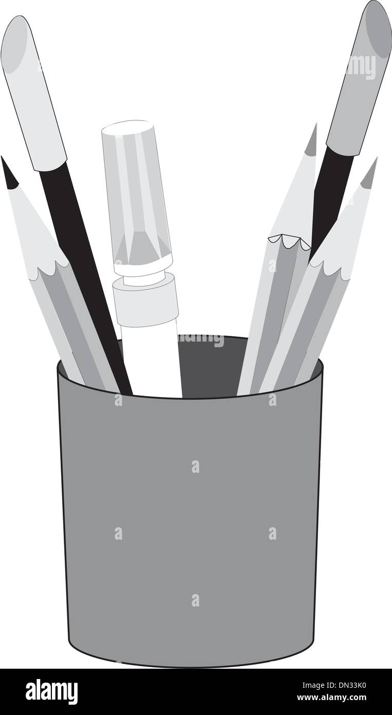 Basket with pens and pencils - Stock Vector