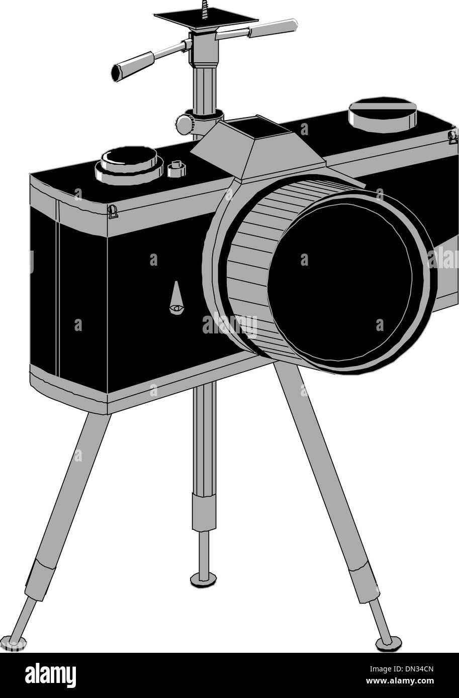 Professional slr camera - Stock Vector