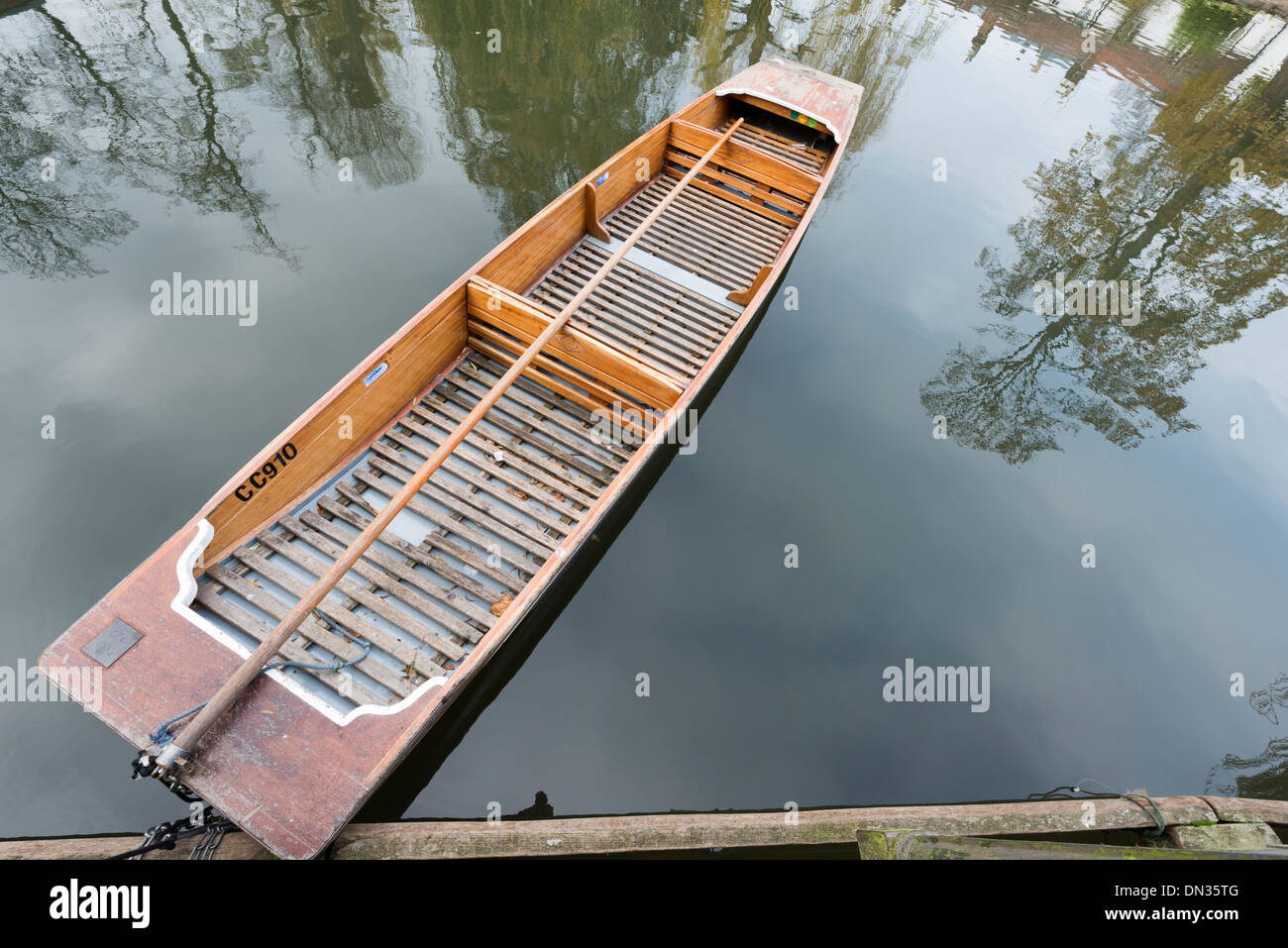 A punt moored on the River Cam Cambridge UK - Stock Image