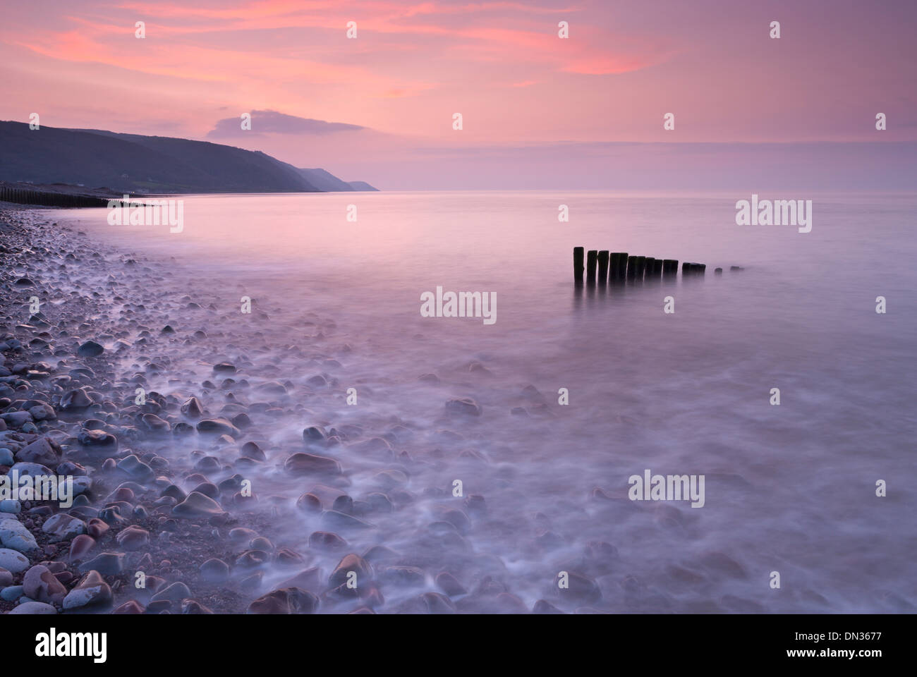 High tide at Bossington Beach at sunset, Exmoor, Somerset, England. - Stock Image
