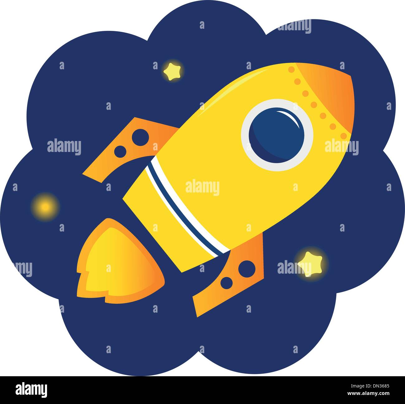 Cartoon stylized Rocket in space with stars - Stock Image
