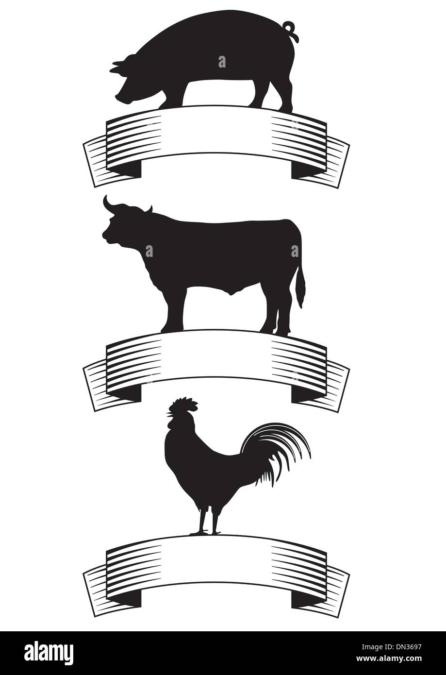 Beef, pork, poultry - Stock Vector