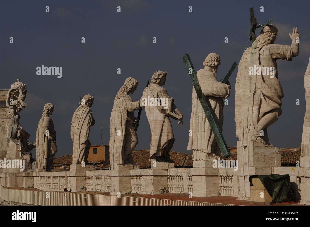 Jesus and the Apostles on the roof of St. Peter's Basilica. Vatican City. - Stock Image