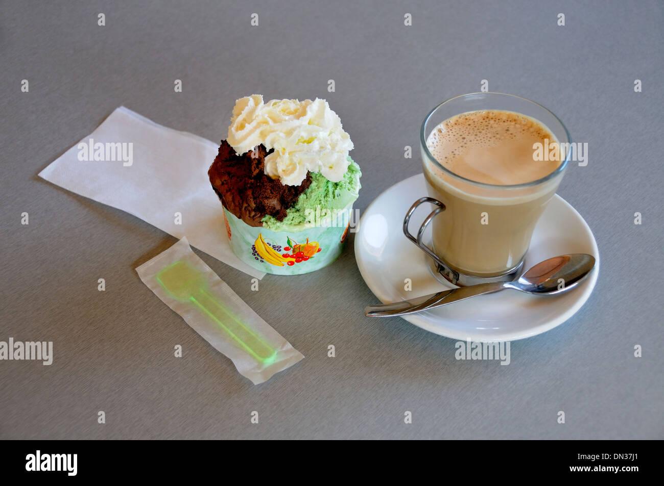 coffee and ice cream - Stock Image
