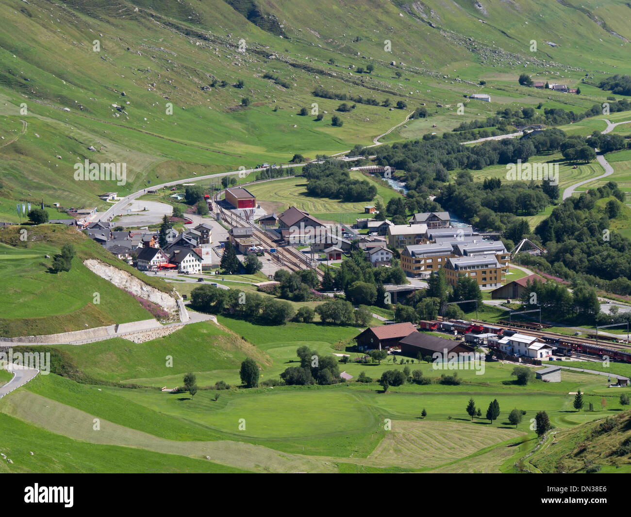 village of Realp in the valley of  Urserental from the Furka pass road, and railway station on the Glacier express Switzerland - Stock Image