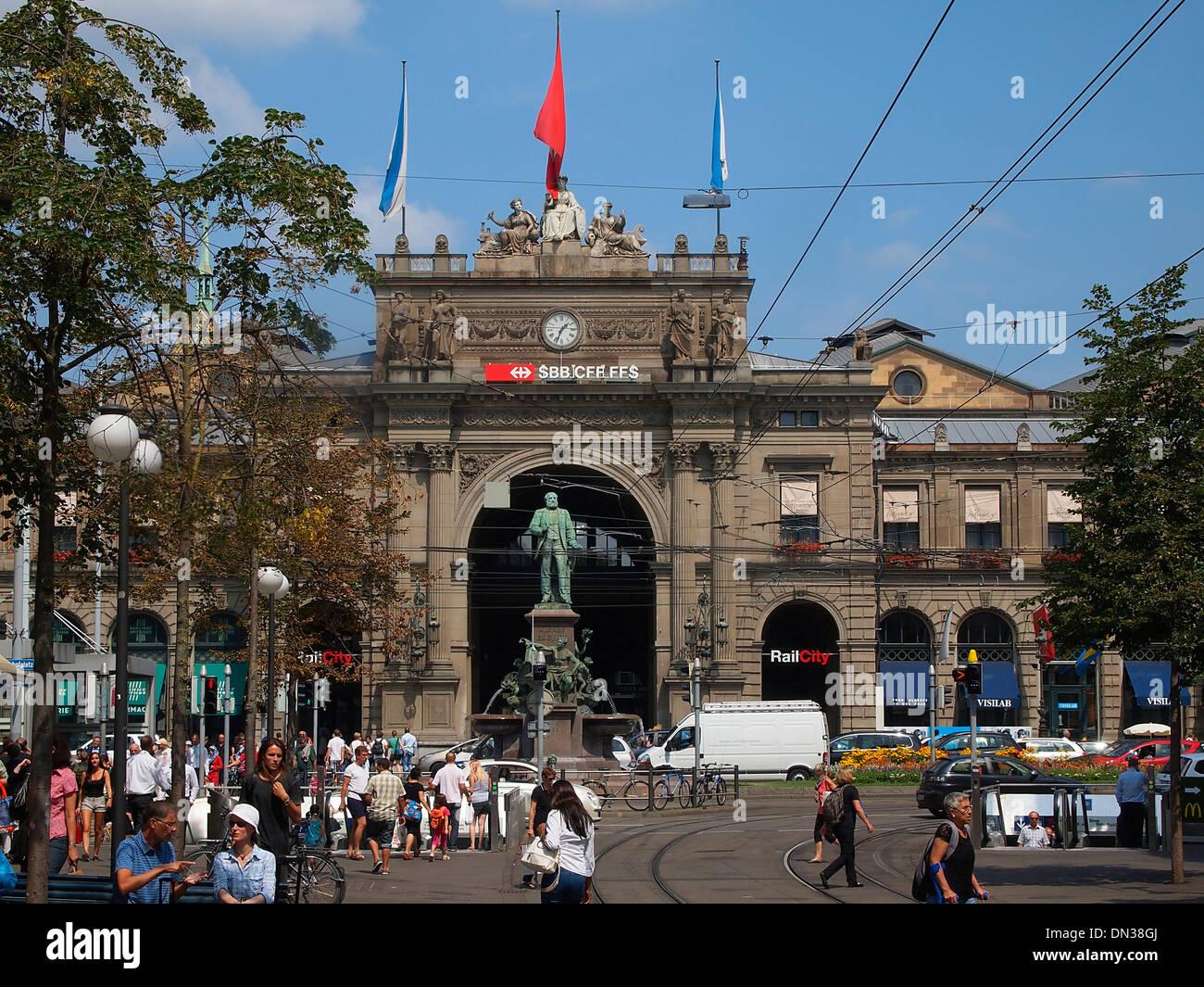 Switzerland, Zurich, Train Station and Bahnhofstrasse - Stock Image