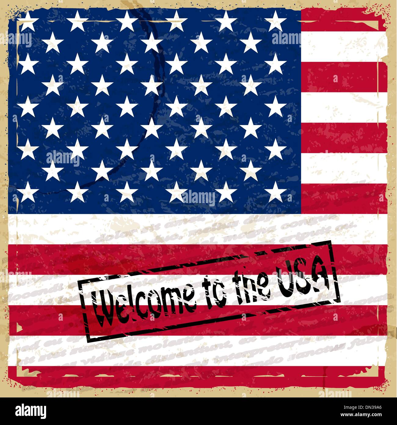 Vintage background with U.S. flag - Stock Vector