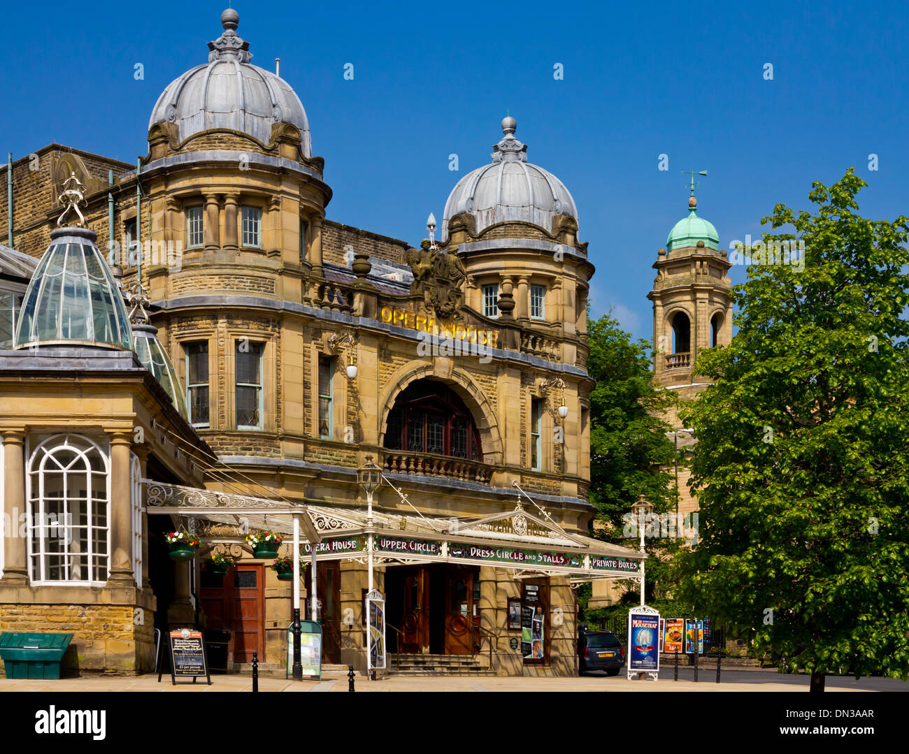 Exterior of Buxton Opera House Peak District Derbyshire England UK built 1903 and designed by theatre architect Frank Matcham - Stock Image